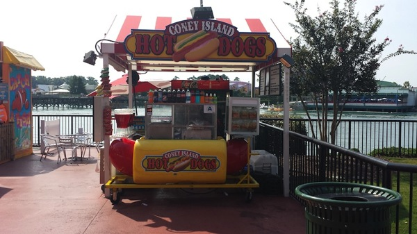 this is a photo of a like new willy dog hot dog cart for sale on the midway marketplace