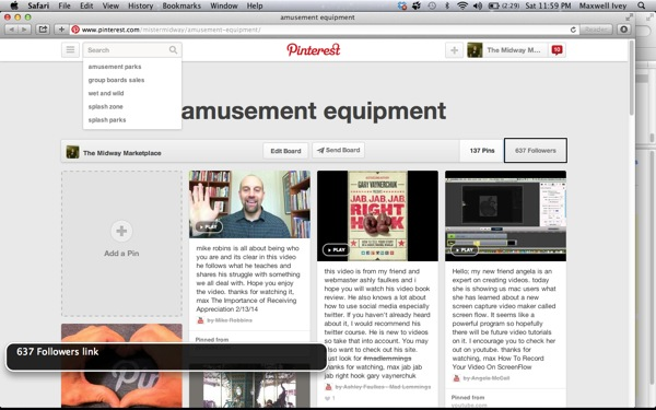 Pinterest screen shot